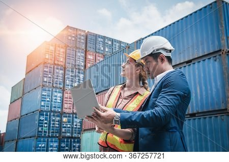 Business Team Container Cargo Shipping Control Inspection Loading Dock And Management Import/export