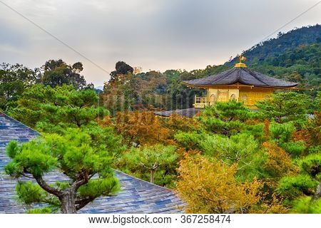 Japanese Destinations. Beautiful View Of Renowned Golden Pavilion Temple (kinkaku-ji) And Pond With