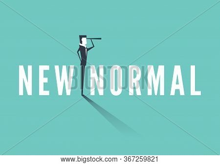 Businessman Standing On A New Normal Text And Carrying Binoculars. Business Vision New Normal Concep
