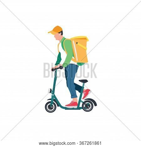 The Courier Delivers Products To Your Home And Office. Courier Delivery. The Remote Ordering Of Food