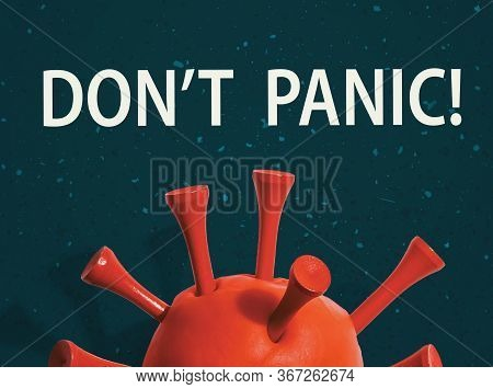 Dont Panic Theme With A Big Red Virus Object