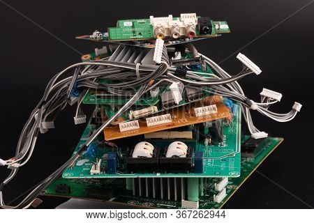 electronic PCB garbage as background from recycle industry and old consumer devices