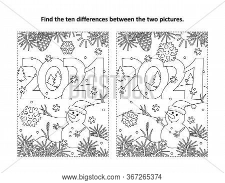Year 2021 Find The Ten Differences Picture Puzzle And Coloring Page With Year 2021 Heading And Winte