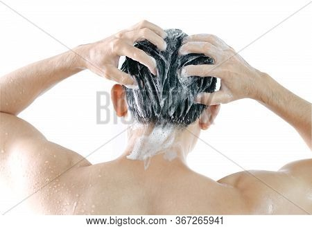 Closeup Young Man Washing Hair With Shampoo Isoleted On White Background