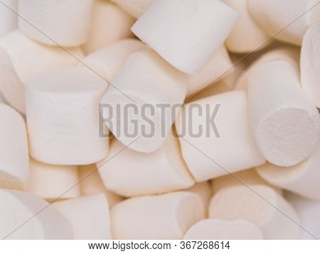 White Marshmallow Close-up. Marshmallows For Frying On The Fire.