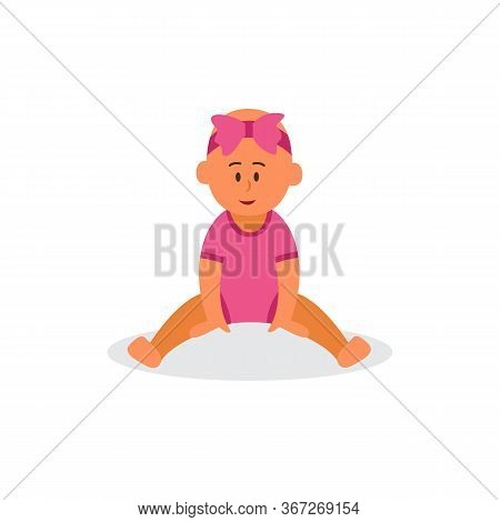 Baby Girl Character In Pink Jumpsuit Sitting, Vector Illustration Isolated.