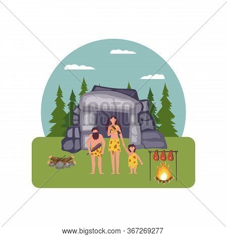 Prehistoric House With Primitive People Characters Cartoon Vector Illustration.