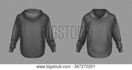 Hoody, Black Sweatshirt Mock Up Front And Back View Set. Isolated Hoodie With Long Sleeves, Kangaroo
