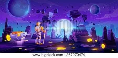 Astronaut On Alien Planet In Far Galaxy. Cosmonaut In Suit And Helmet Holding Staff And Pull Anti-gr
