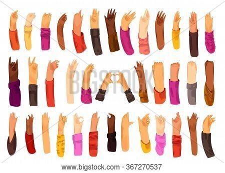 Human Hand With Collection Of Signs And Hand Gestures - Ok, Love, Greetings, Waving Hands, Phone And