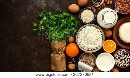 High Calcium Foods, Banner. A Variety Of Products Rich In Calcium. Top View, Flat Lay, Place For Tex