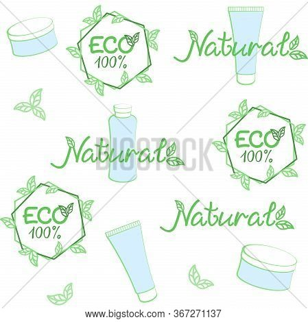 Eco, Natural Cosmetics Background. Vector Seamless Pattern For Natural Cosmetics Market, Natural Bea