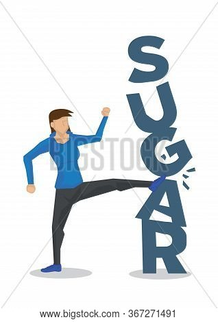 Woman Breaking Down Sugar For Healthy Diet. Concept Of Healthy Lifestyle, Diet, Stop Eating Carbohyd