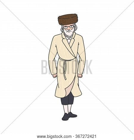 Orthodox Jew Man Character In Traditional Clothes, Vector Illustration Isolated.
