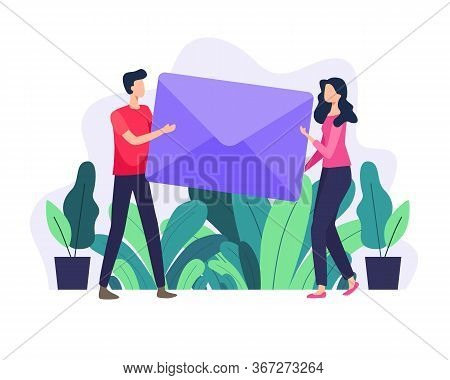 Vector Illustration Men And Women Carry Large Letter. Email Concept Illustration, Subscribe To Newsl