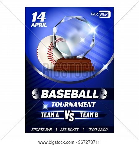 Baseball Regional Sportive Award Poster Vector. Round Baseball Playing Ball With Red Thread Stitchin