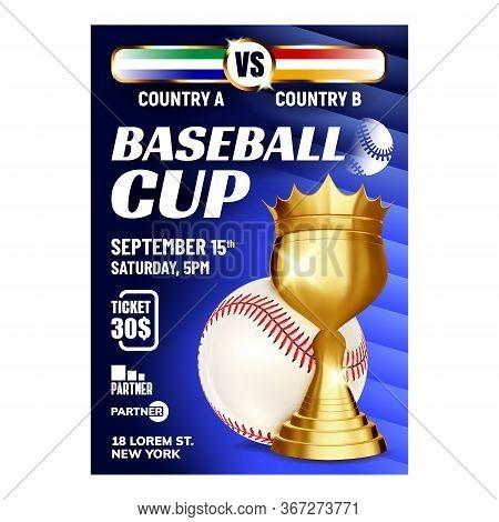Baseball Champion World Series Cup Banner Vector. Baseball Ball And Golden Award Trophy For Winner T