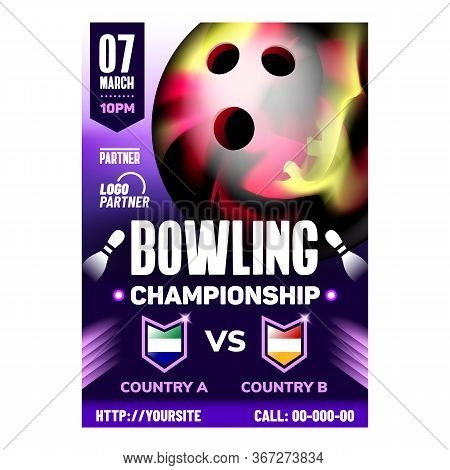 Bowling Ball For Hitting Candlepin Banner Vector. Bowling Gaming Equipment For Hit Target Duckpins O