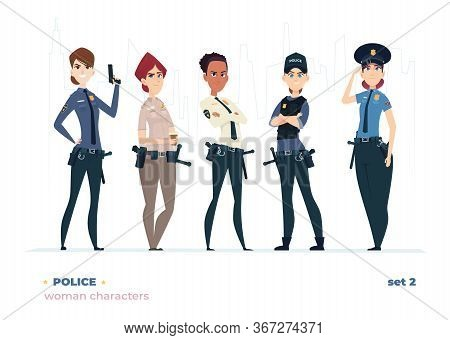 Female Police Officer Collection. Young Cheerful Police Women. Police Girls Character Collection