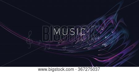 Abstract Dynamic Composition Of Melody Or Music Made Of Of Bright Lines With Notes And Violin Clef,
