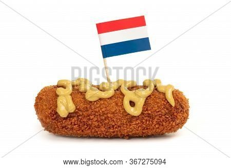 Brown Crusty Dutch Kroket With Mustard Topping Isolated On A White Background