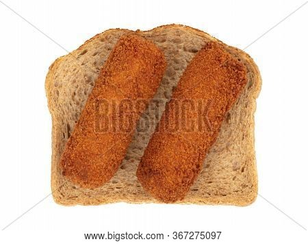 Brown Crusty Dutch Kroketten On A Piece Of Bread, Isolated On A White Background