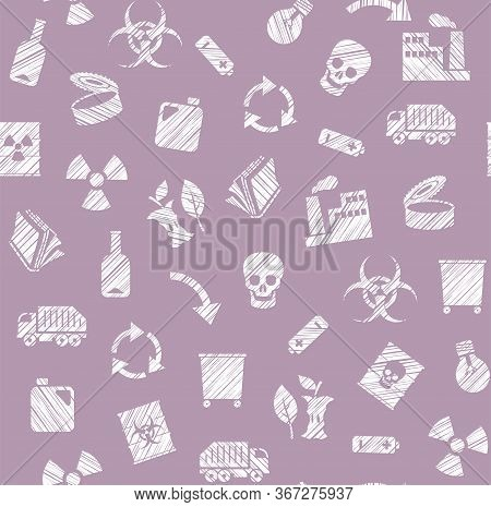 Waste Collection And Disposal, Seamless Pattern, Lilac, Pencil Hatching, Vector. Garbage Collection,