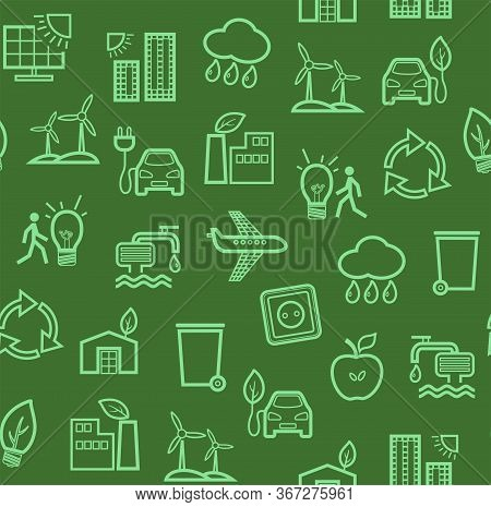Eco-friendly Technology, Seamless Pattern, Green, Contour Drawing, Color, Vector. Clean Energy, Fuel