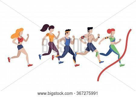Marathon Running. Jogging Men And Women In Sportswear Isolated Characters In Flat Style. Marathon Ru