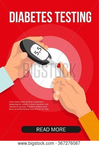 Diabetes Glucose Monitoring. Doctors Hand Testing Blood Glucose With Glucometer. Medical Equipment A