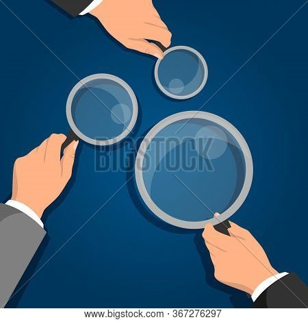 Businessman Hands Holding Magnifying Glass. Information Search And Check. Professional Consulting An