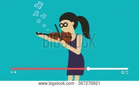 Musician Play Violin. Videostream Of Music Festival And Online Entertainment Event Vector Illustrati