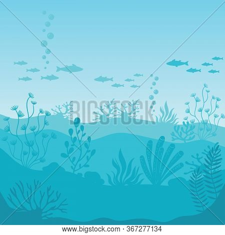Underwater Life. Silhouettes Of Coral Reef With Fishes On Bottom In Blue Sea. Tropical Sea With Seaw