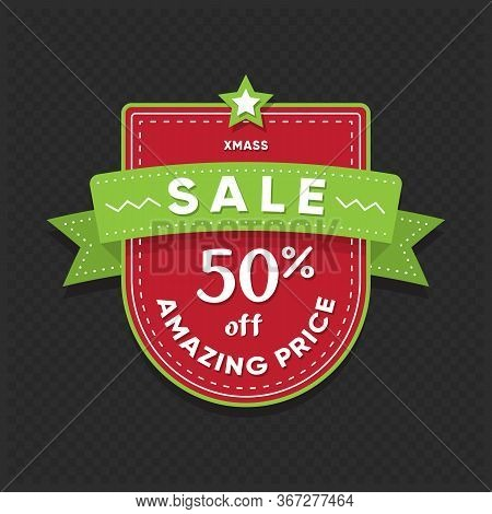 Xmas Sale Sticker. Amazing Price Retail Tag Isolated On Dark Background. Market Badge Design With Di