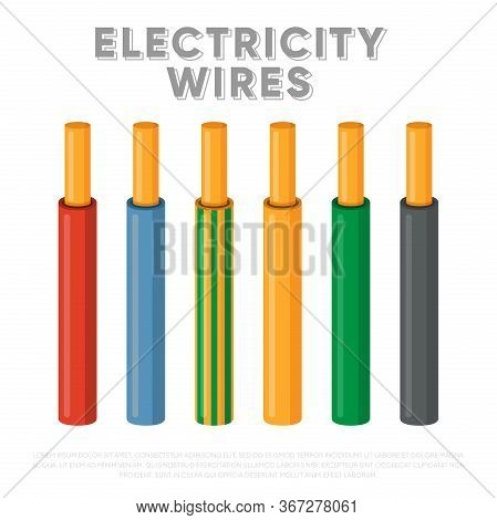 Electricity Wires. Single Core Industrial Cables Set. Multicolored Power Cables In Insulation Vector