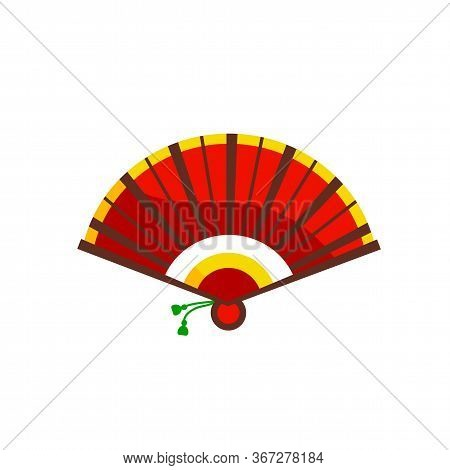 Chinese Hand Fan. Opened Oriental Paper Folding Fan With Traditional Ornament In Flat Style. Beautif