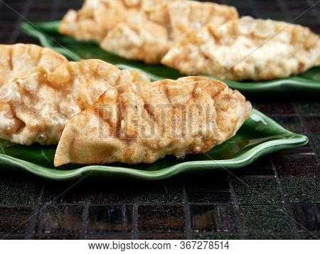 Deep Fried Korean Dumplings (mandu), Filled With Beef. Close-up View