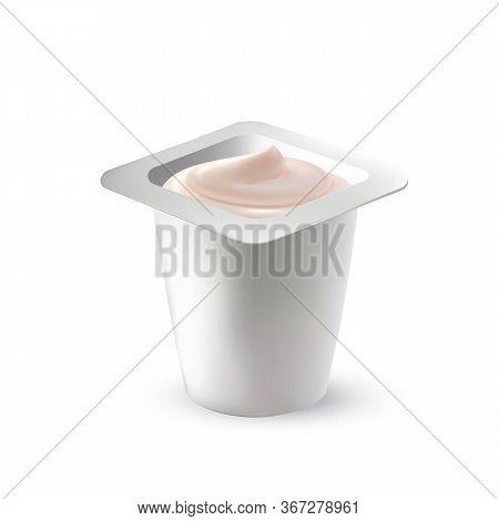 Yogurt Dairy Cream Delicious Dessert Food Vector. Yogurt Nutrition In Blank Plastic Cup Package. Hea