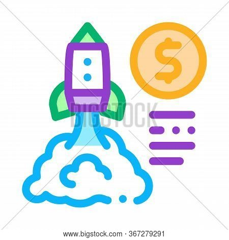 Monetary Comet Flight Icon Vector. Monetary Comet Flight Sign. Color Symbol Illustration