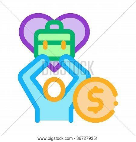 Favorite Money Job Icon Vector. Favorite Money Job Sign. Color Symbol Illustration