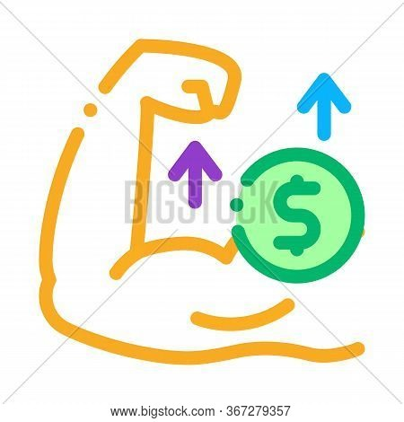 Money Earned By Force Icon Vector. Money Earned By Force Sign. Color Symbol Illustration