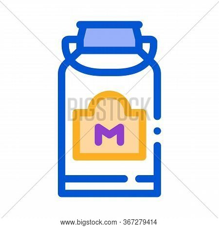 Milk Can With Handle Icon Vector. Milk Can With Handle Sign. Color Symbol Illustration