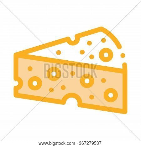 Piece Of Hard Cheese Icon Vector. Piece Of Hard Cheese Sign. Color Symbol Illustration