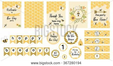 Bee Party Template Set Bee Baby Shower Invitations Cute Kids Party Event Sweet Honey Bee Day Garland
