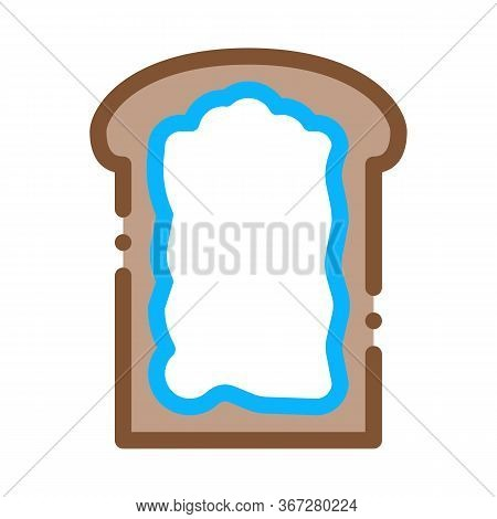 Toast With Mayonnaise Icon Vector. Toast With Mayonnaise Sign. Color Symbol Illustration
