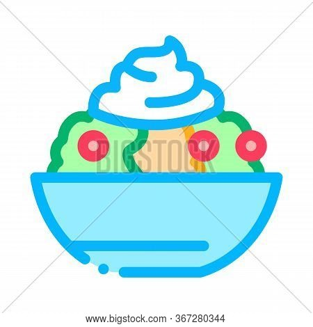 Mayonnaise Salad Icon Vector. Mayonnaise Salad Sign. Color Symbol Illustration