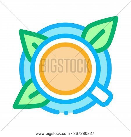 Cup Of Tea With Saucer Top View Icon Vector. Cup Of Tea With Saucer Top View Sign. Color Symbol Illu