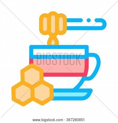 Add Honey To Cup Of Tea Icon Vector. Add Honey To Cup Of Tea Sign. Color Symbol Illustration