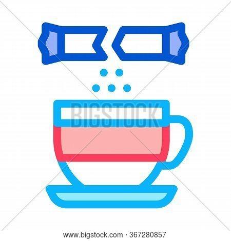 Sprinkle Sugar In Cup Of Tea Icon Vector. Sprinkle Sugar In Cup Of Tea Sign. Color Symbol Illustrati