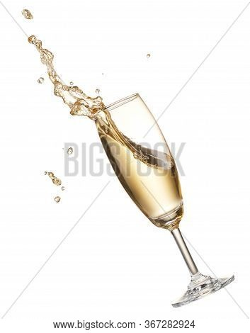 Glass Of Champagne With Splash Isolated On White